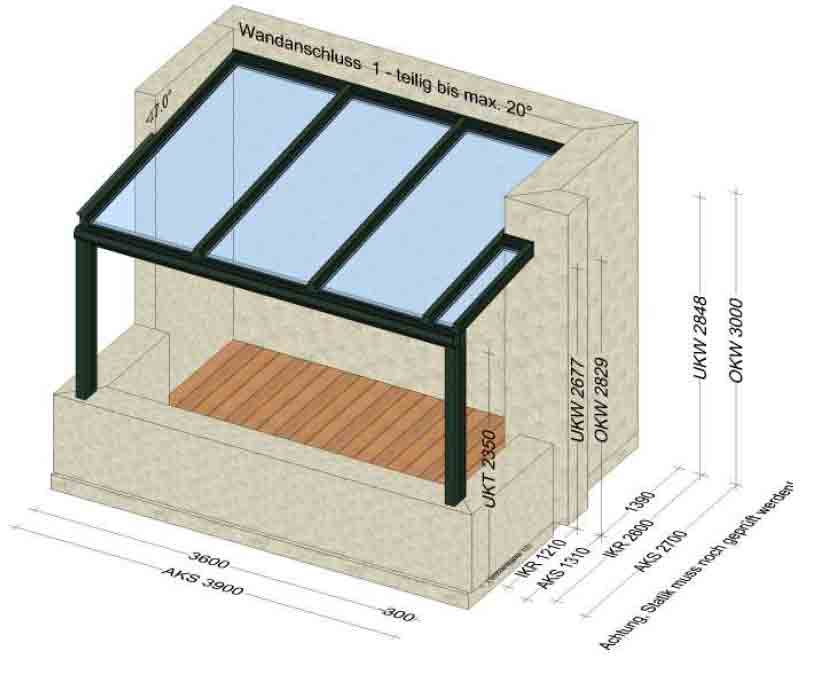 Terrassenüberdachung Glasdicke VSG 10 mm