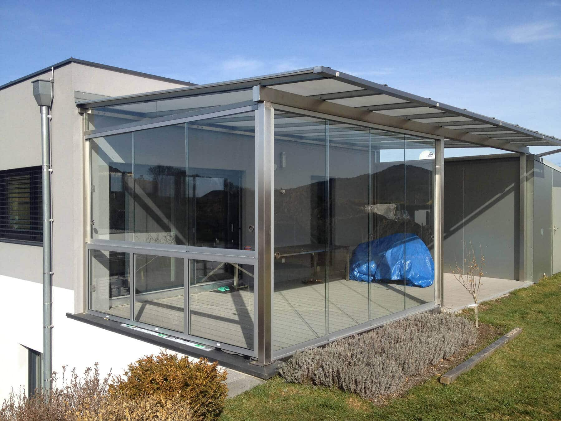 Terrassenüberdachung in Edelstahl Konstruktion