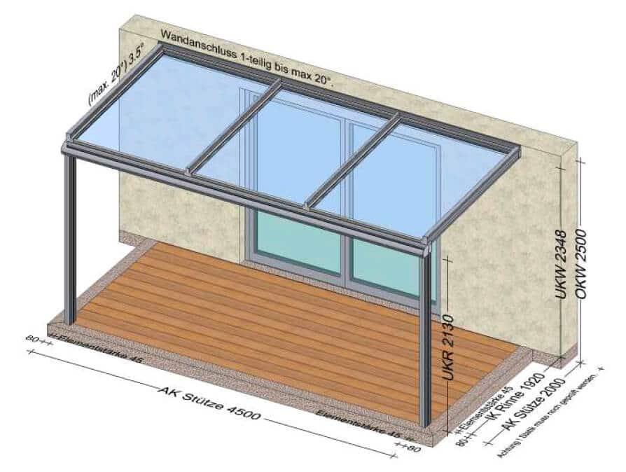 Terrassenüberdachung mit 3 Glasfeldern