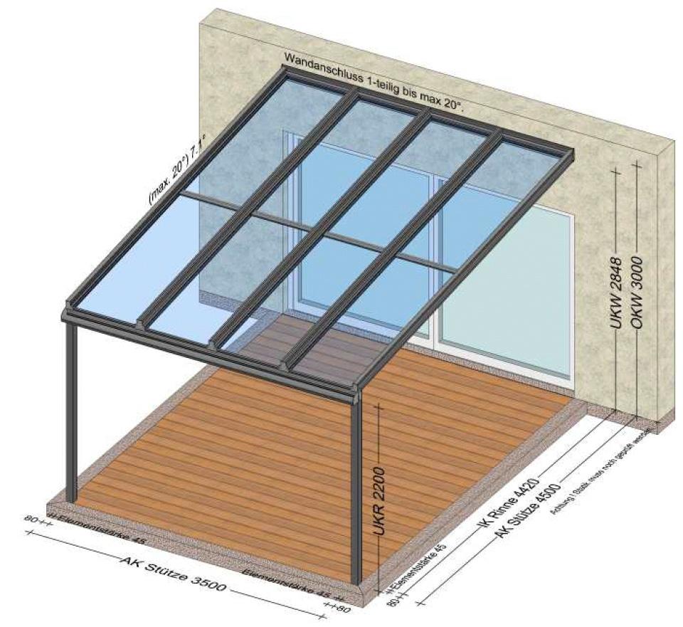Terrassenüberdachung mit einer Tiefe von 4500 mm - Planung