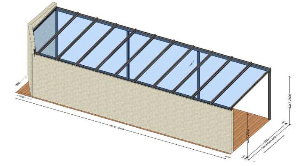Terrassenüberdachung mit Gefälle zur Hausmauer - Planung in Linz