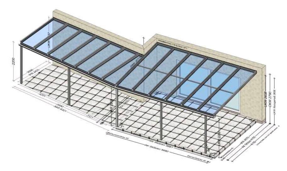 Terrassenüberdachung mit geradem und schrägem Wandanschluß
