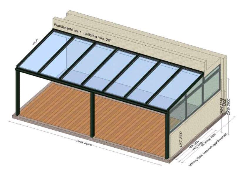 Terrassenüberdachung mit Glas 8 x 3 in Oberösterreich