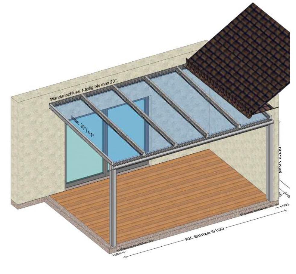 Terrassenüberdachung mit Glas und Aluprofilen nach Maß - Planung