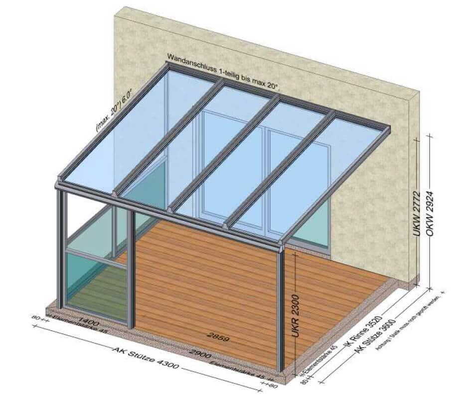 Terrassenüberdachung mit Glasgeländer nach Maß