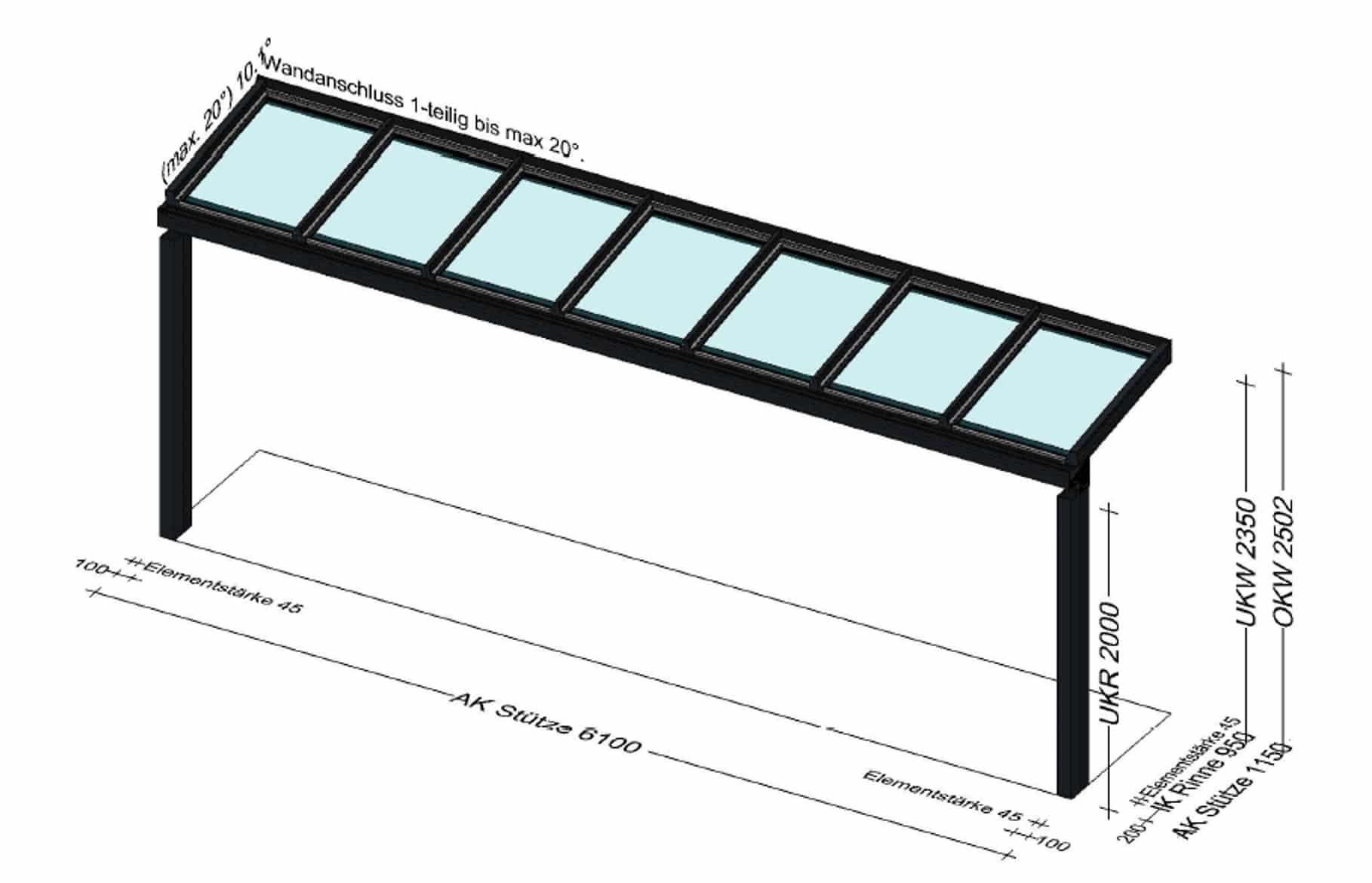 Terrassenüberdachung mit kleinem Dach nur 1 Meter Tief