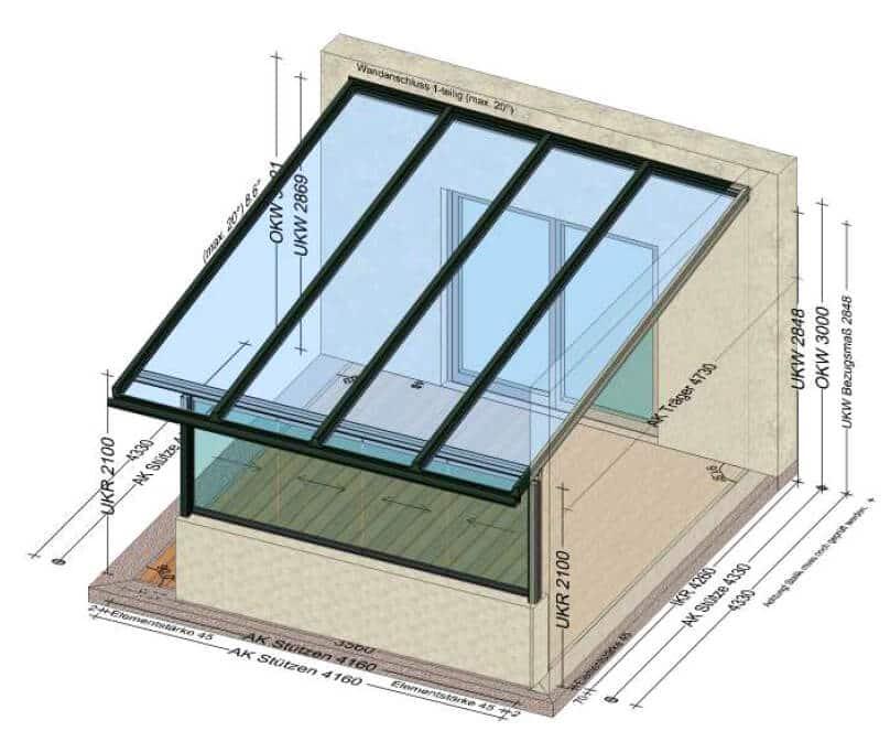 Terrassenüberdachung mit Schiebeelemente - Vorne