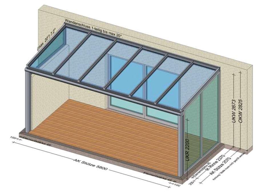 Terrassenüberdachung mit Seitenelementen festverglast