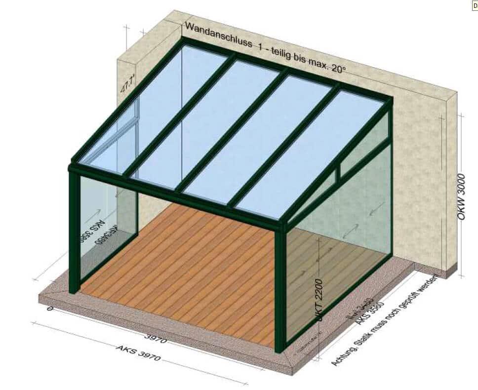 Terrassenüberdachung mit Seitenwände