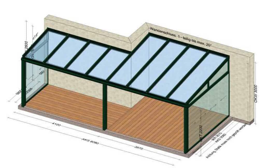 Terrassenüberdachung mit seitlichen Schiebeelementen