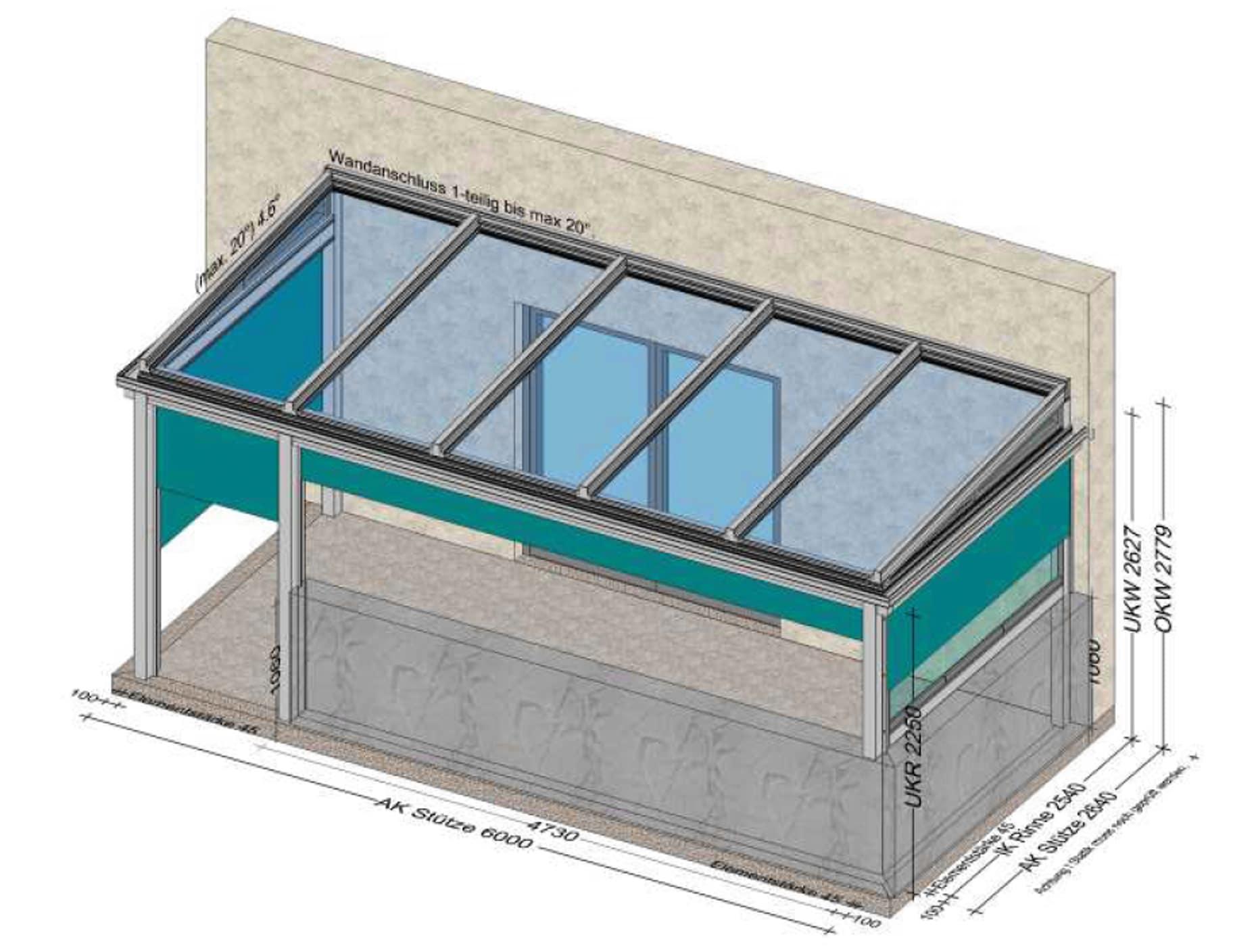 Terrassenüberdachung mit senkrechter Beschattung und Glasdach