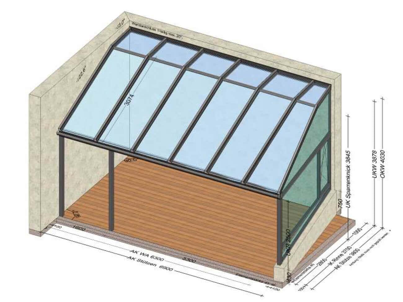 Terrassenüberdachung mit Solarknick - Sonderkonstruktion / Planung