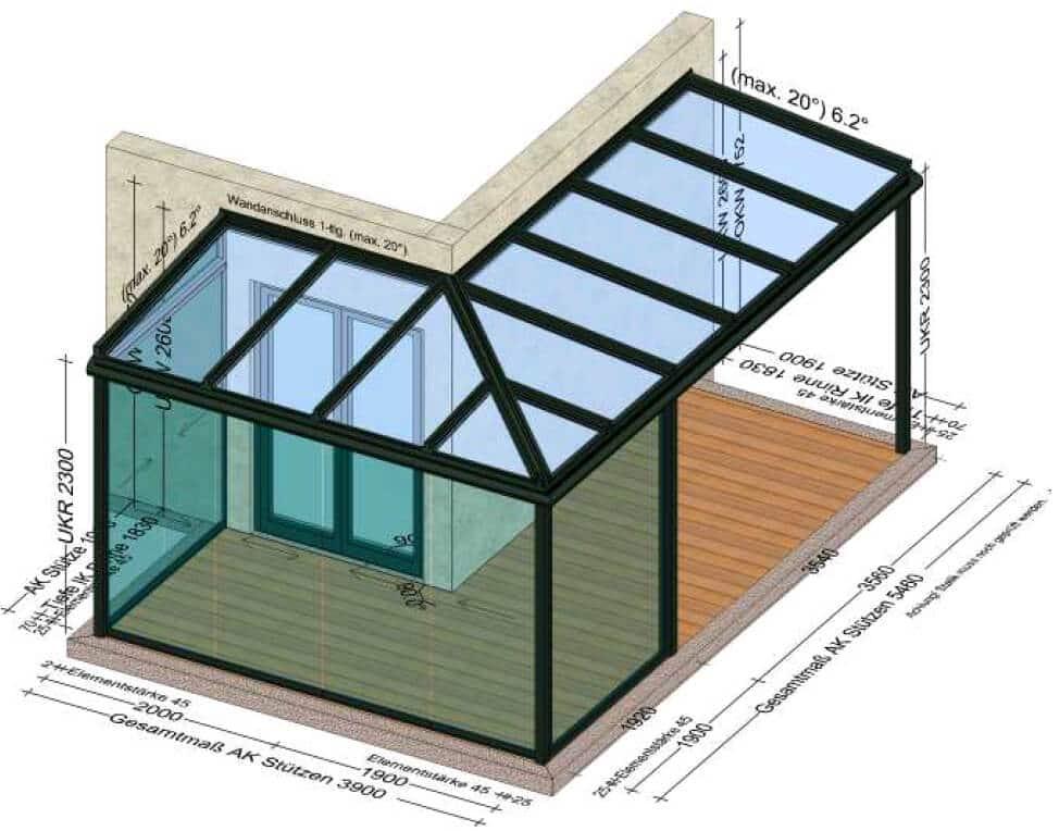 Terrassenüberdachung mit Teilverglasung Schiebewände und Fixteil