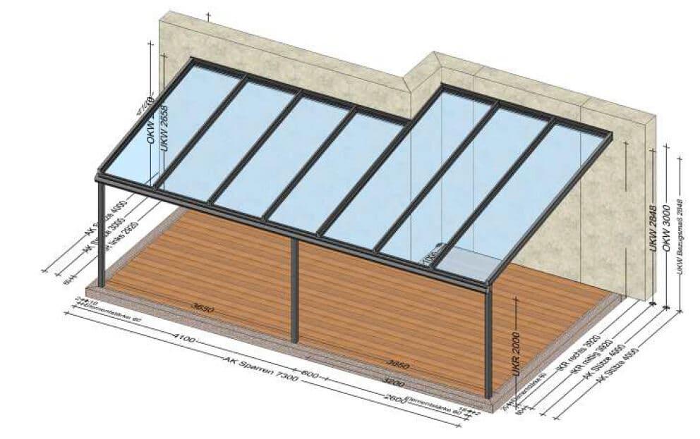 Terrassenüberdachung mit Versatz - Planung