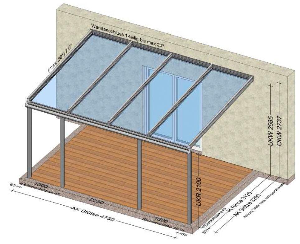 Terrassenüberdachung mit wenigen Unterbrechungen