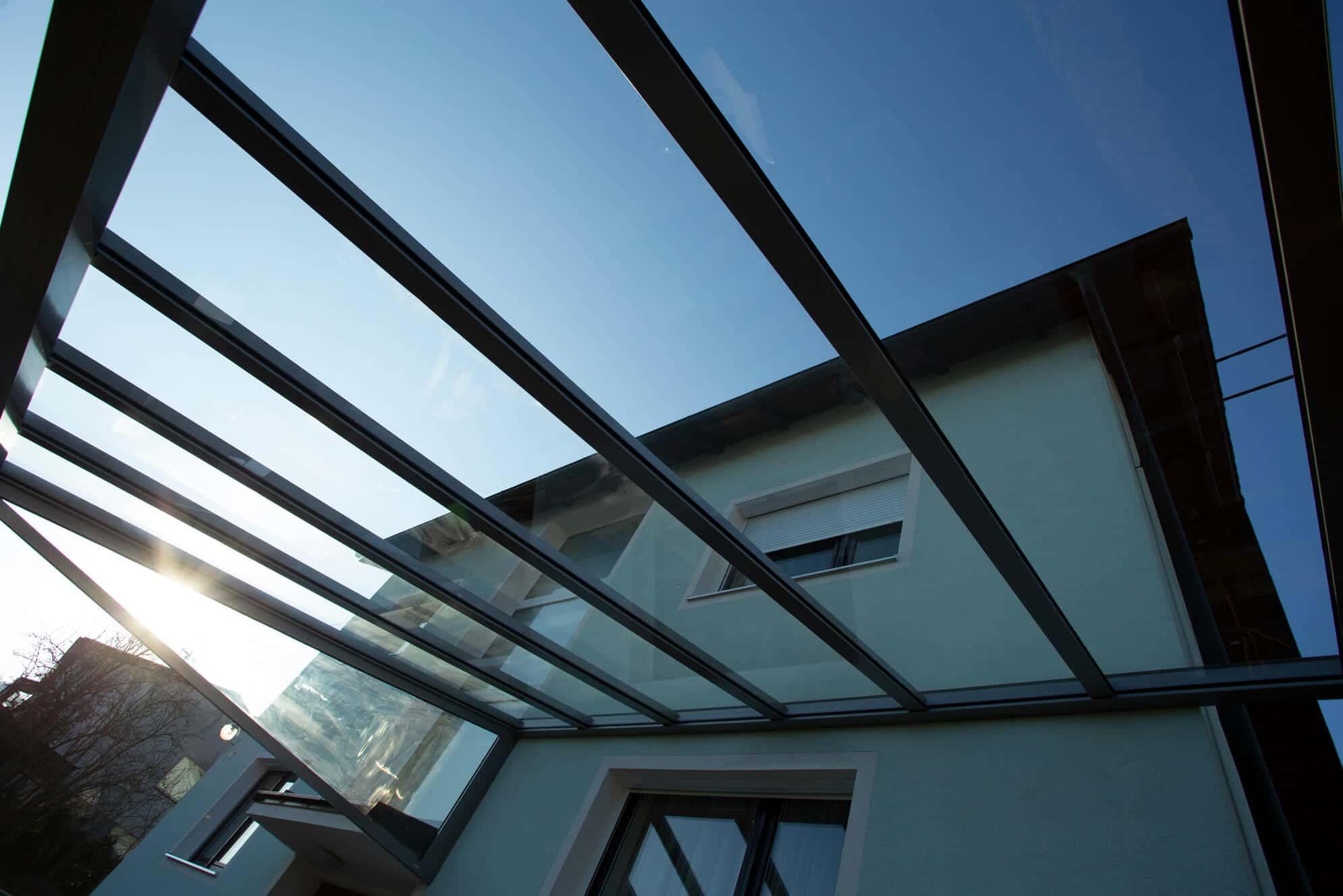 Terrassenüberdachung Pultdachkonstruktion