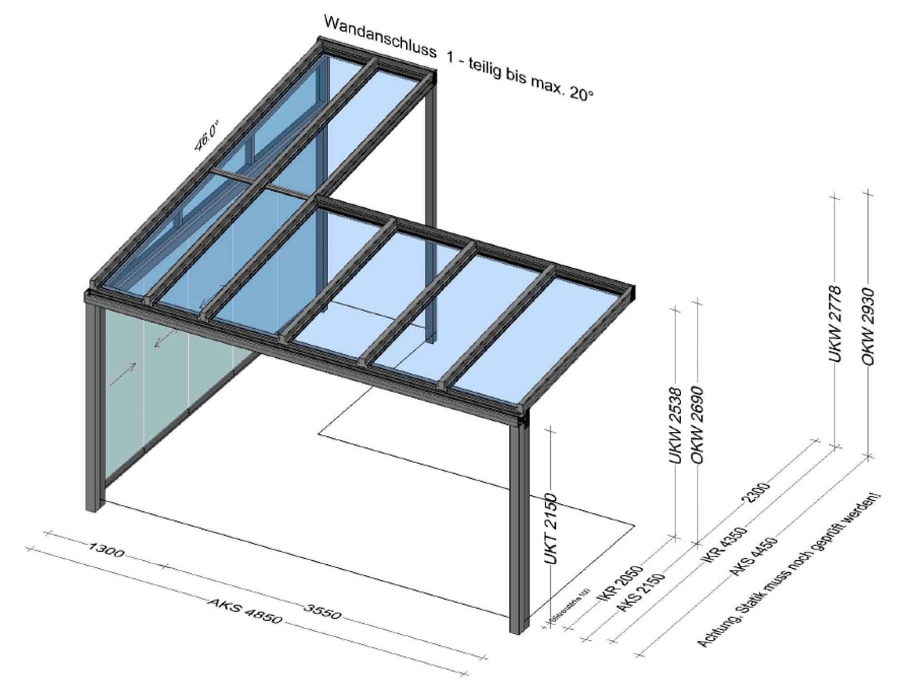 Terrassenüberdachung Schiebetüren - Skizze für BV in Oberösterreich
