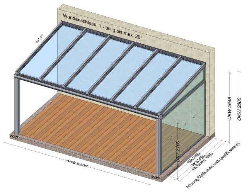 Terrassenüberdachung Seitenwand schiebbar