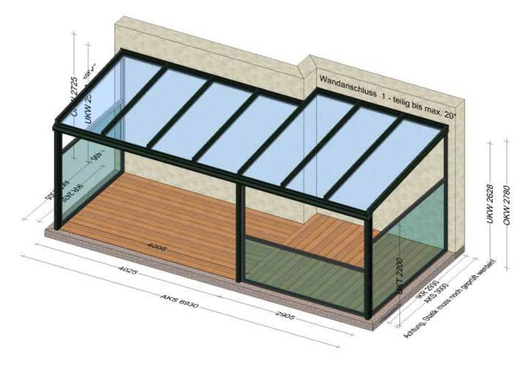 Terrassenüberdachung Sonderkonstruktion Alu