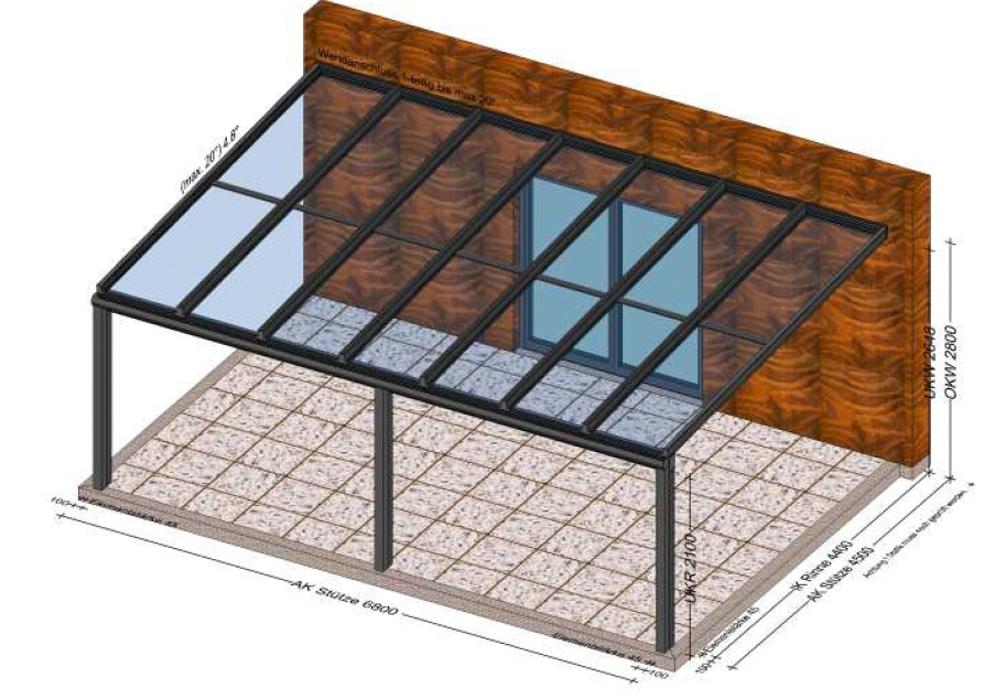 Terrassenüberdachung über 4 Meter tief