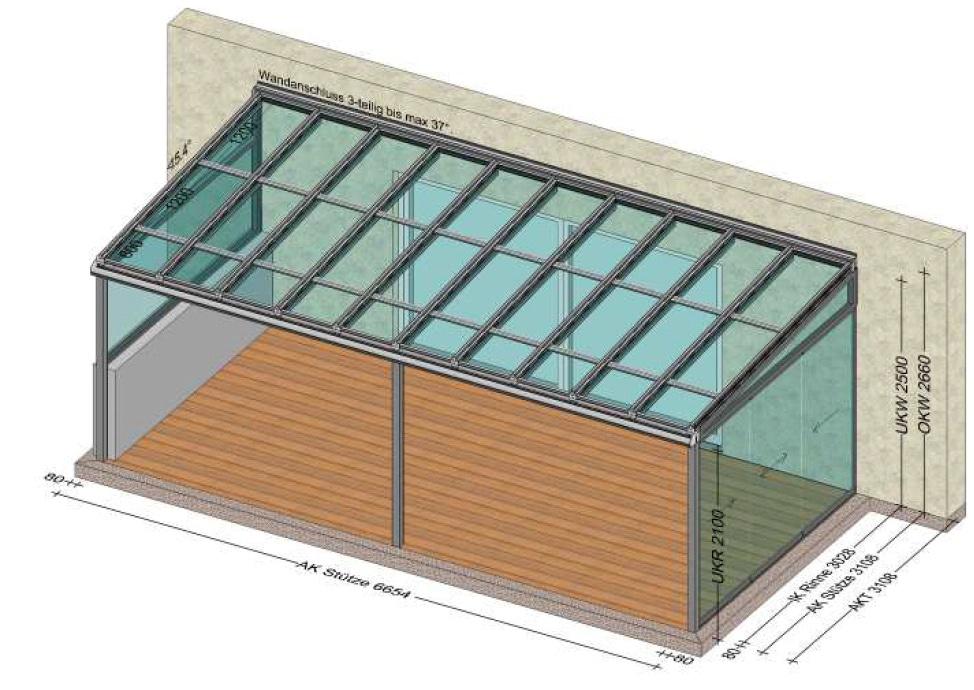 Terrassenüberdachung vorne offen - Seiten mit Verglasung