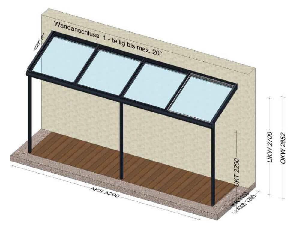 Terrassenüberdachung 5,2 x 1,2 Meter