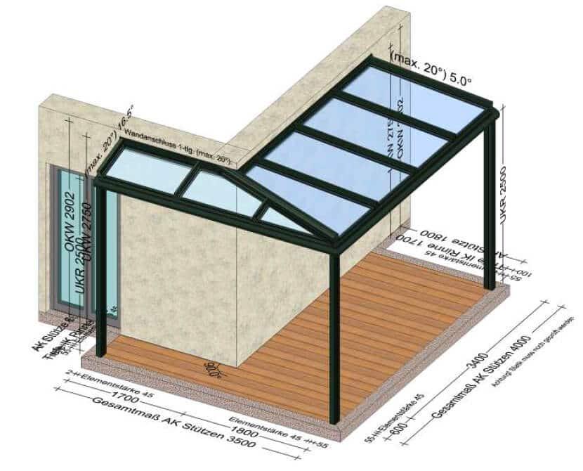 Terrassenüberdachungen Eckkonstruktionen - Maßanfertigungen
