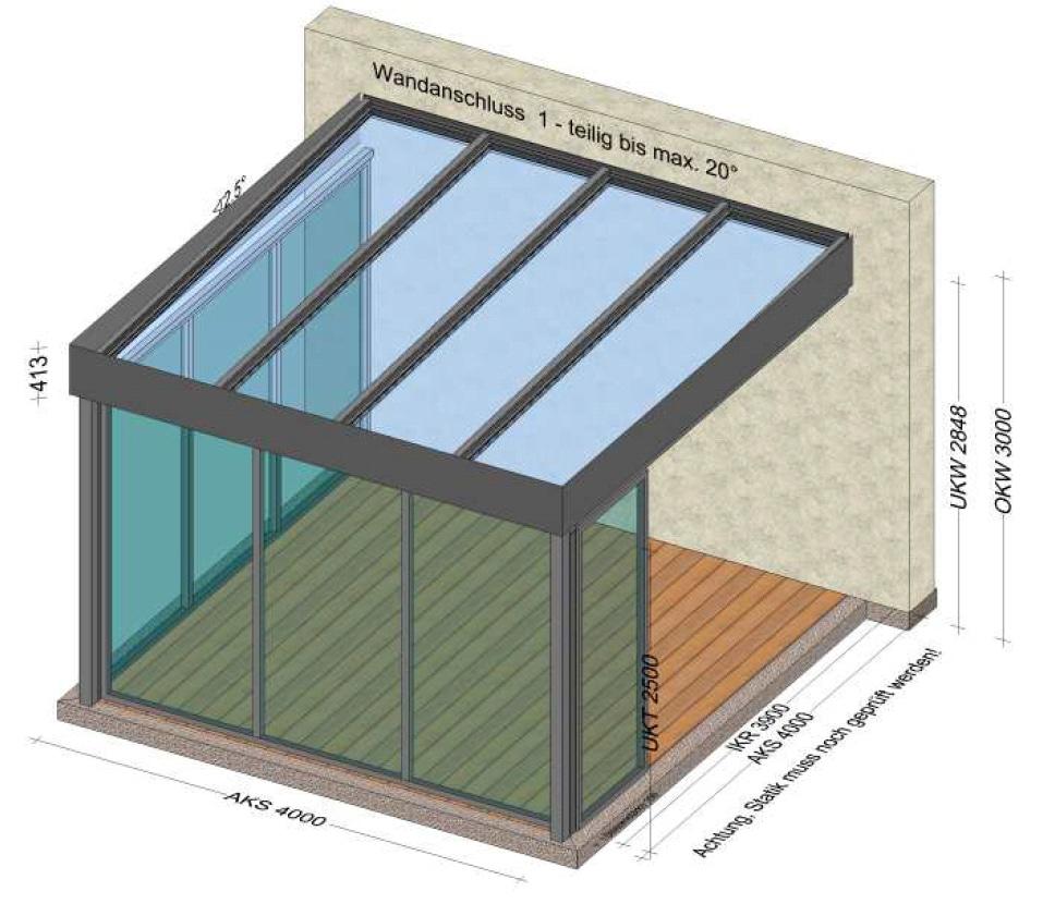 Terrassenüberdachung 2 Seiten geschloßen mit Fixteilen - Planung