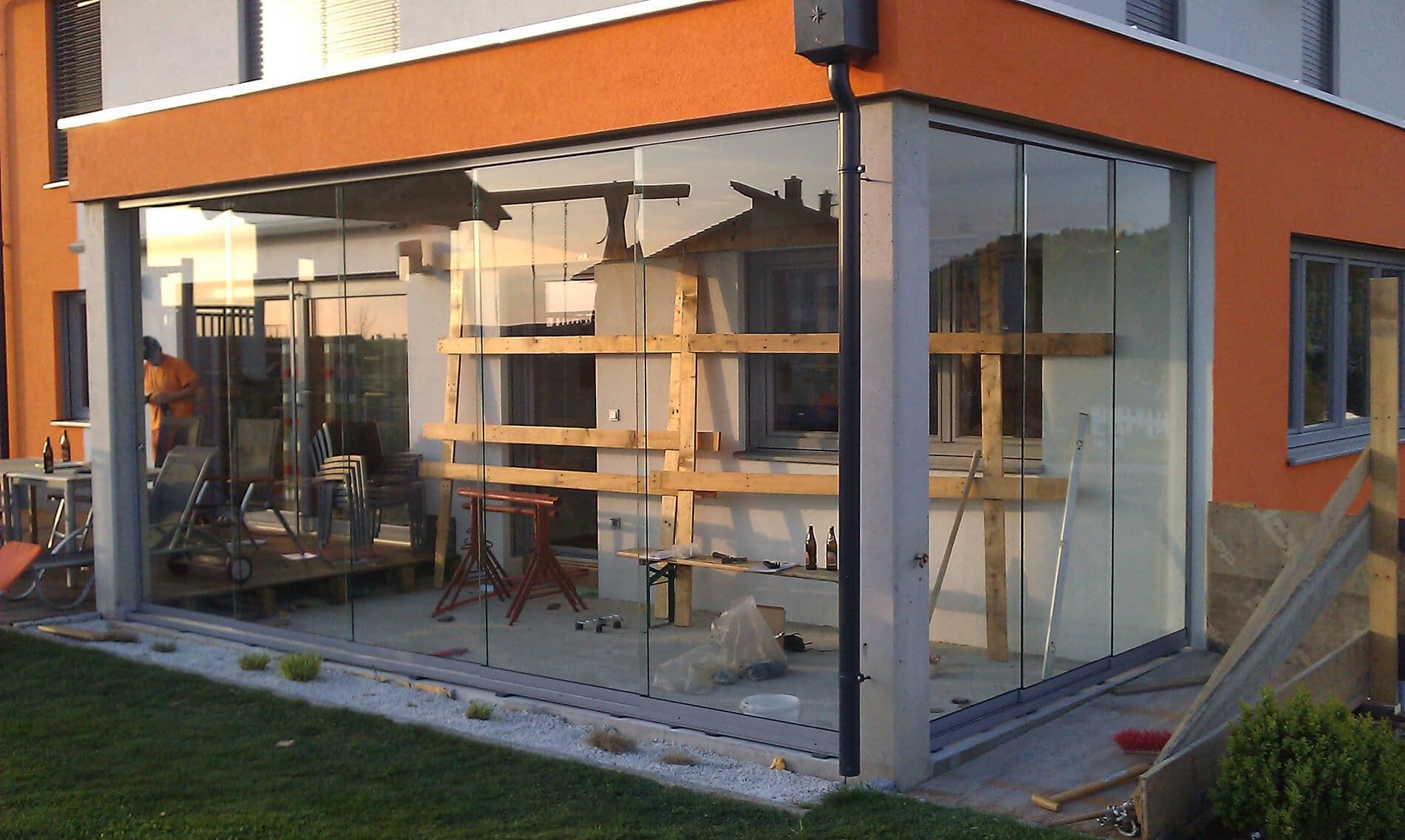 Terrassenverbau Glasschiebetüren Sunflex SF20