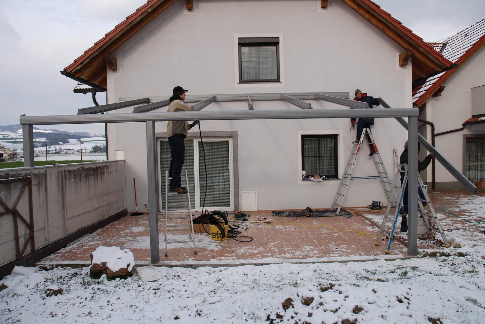 Terrassenverglasung Montagearbeiten