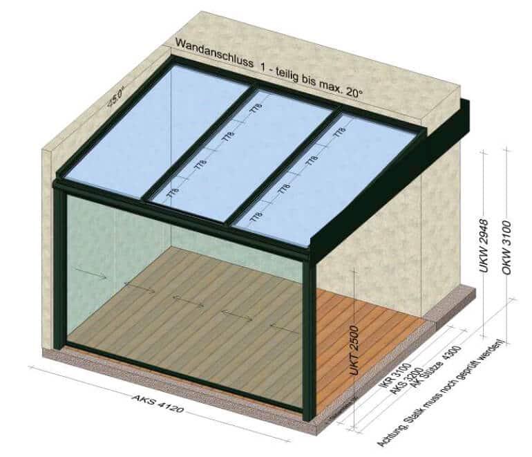 Terrassenüberdachung vorne mit Schiebesystem 4,12 x 3,2 Meter