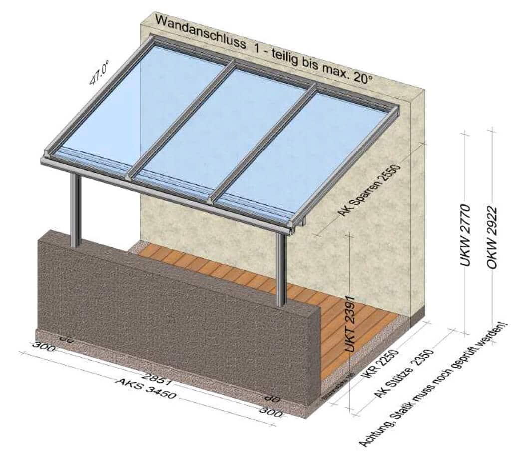 Überdachter Balkon Skizze