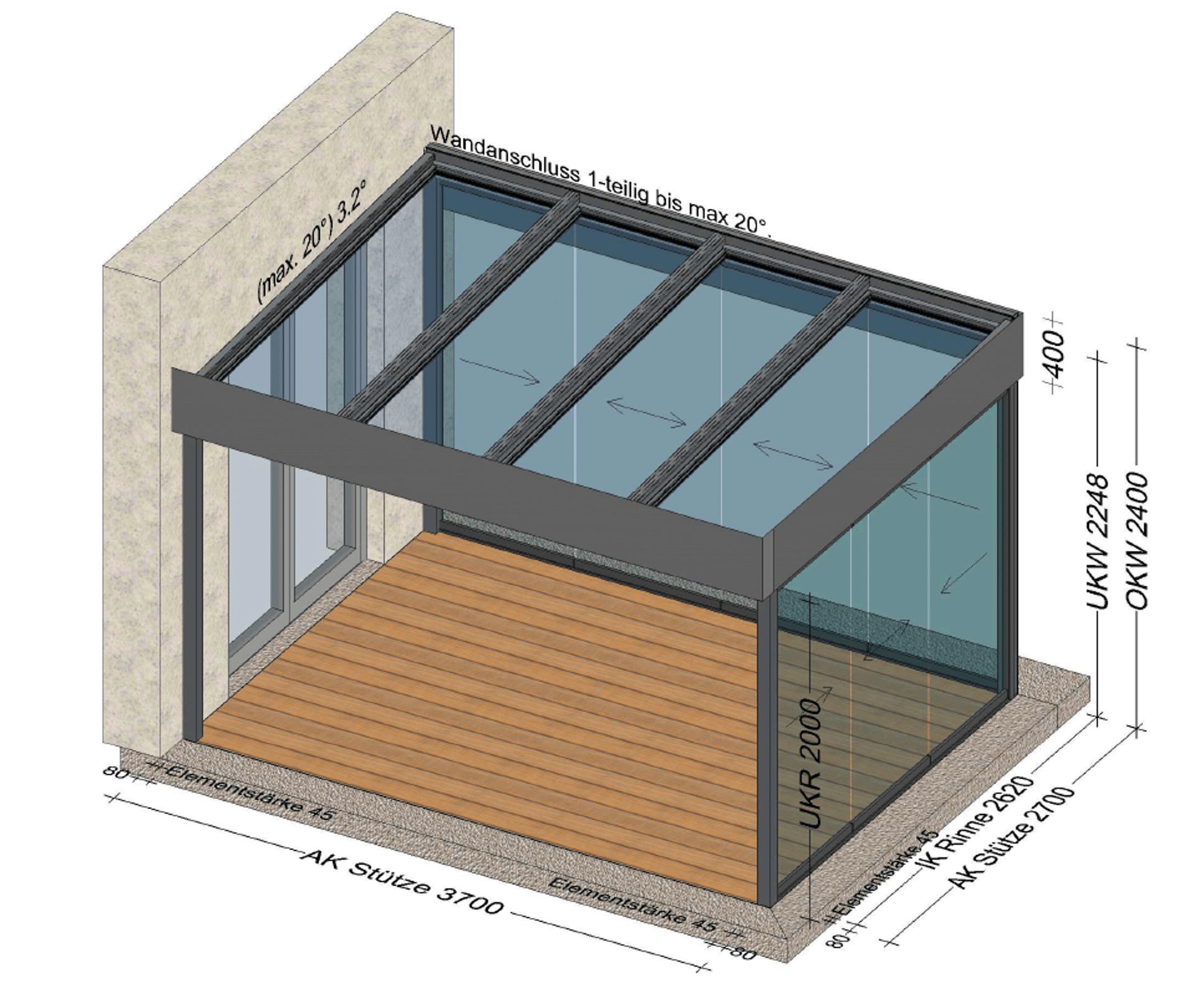 Überdachung modern mit Glasdach