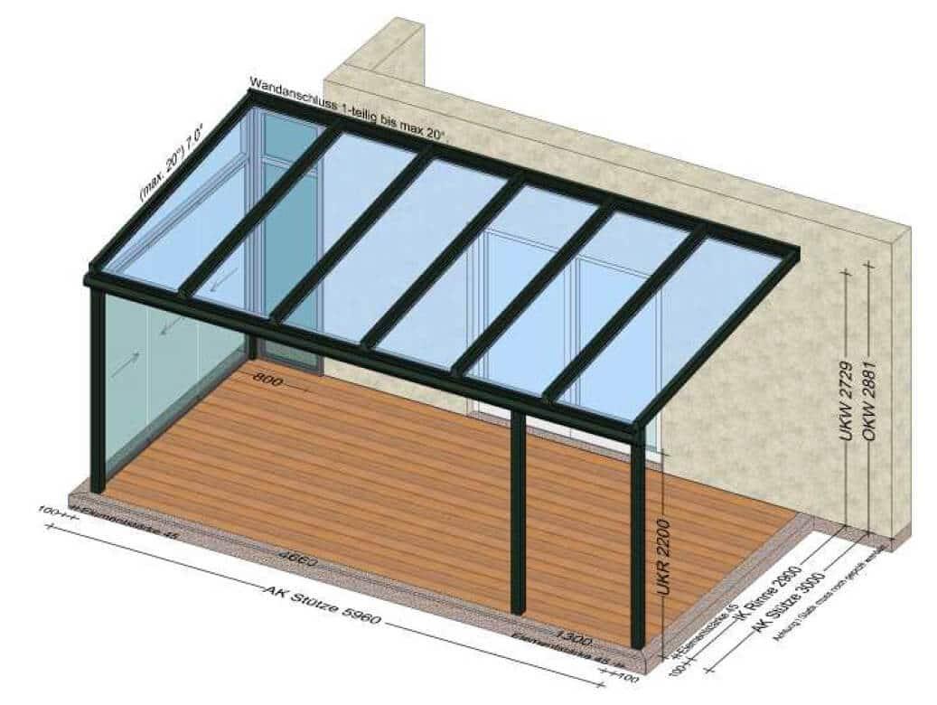Verglasung eines Teiles der Terrasse mit verschiebbaren Glaselementen