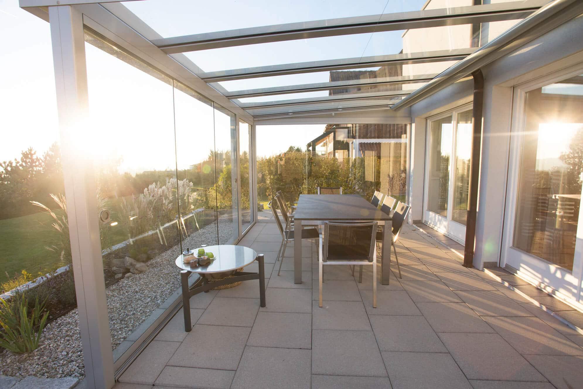 Wetterschutz für Terrassenüberdachung