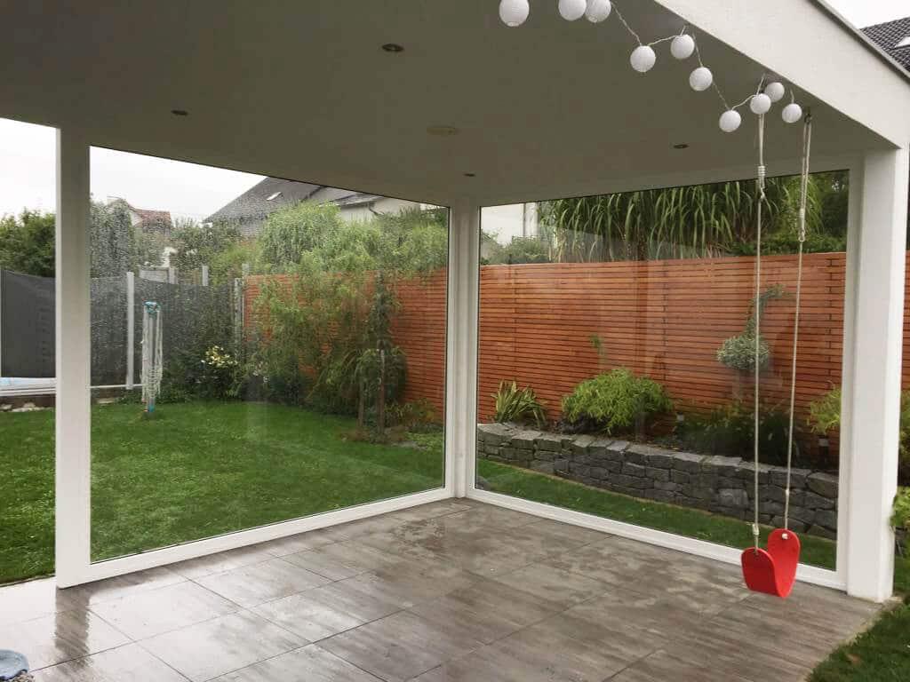 Wetterschutz Terrasse Glas