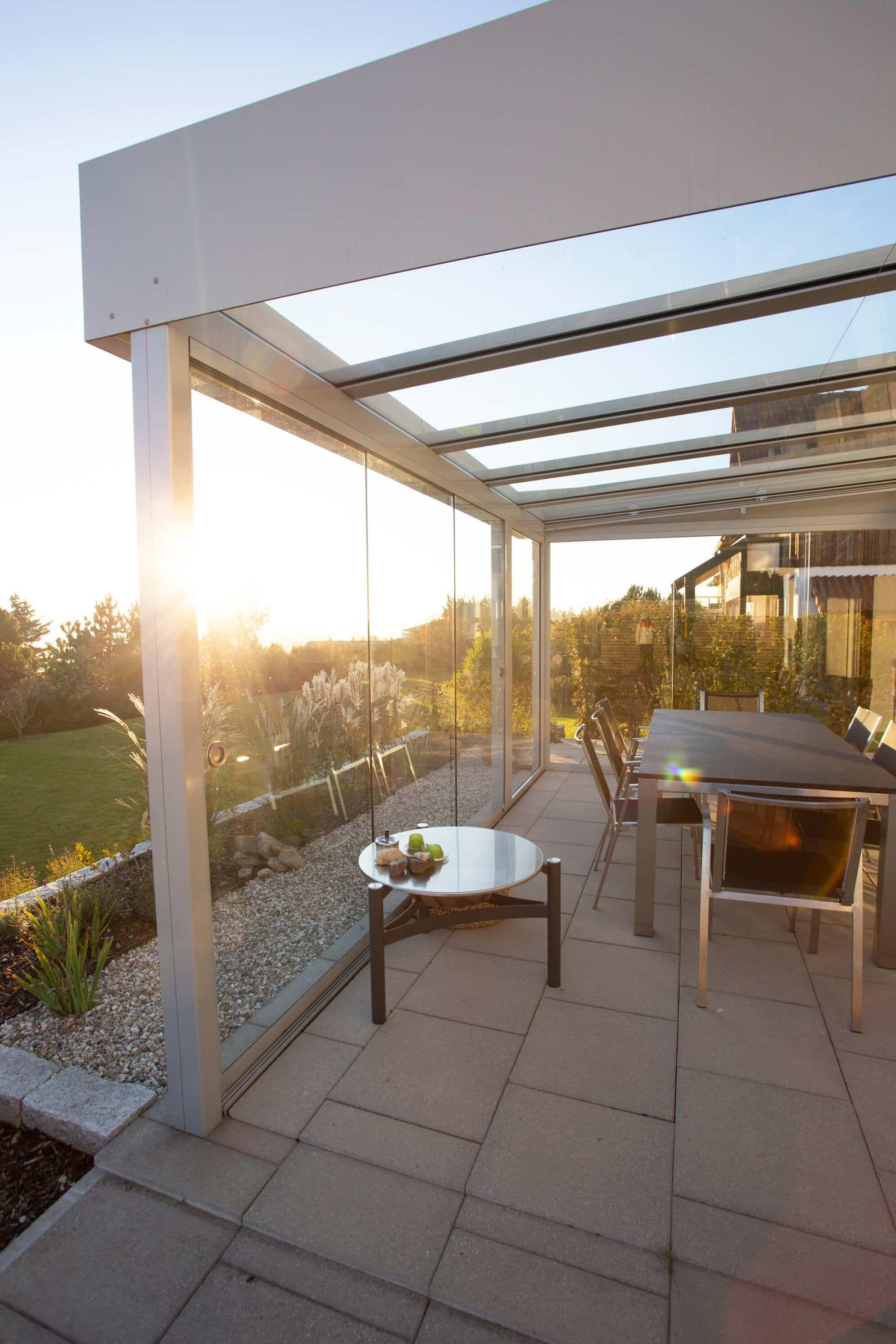 Wetterschutzverglasung für Terrasse