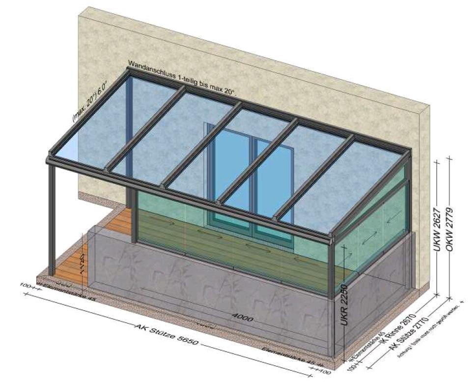 Windschutz auf der Terrasse Glasdach und Schiebewände