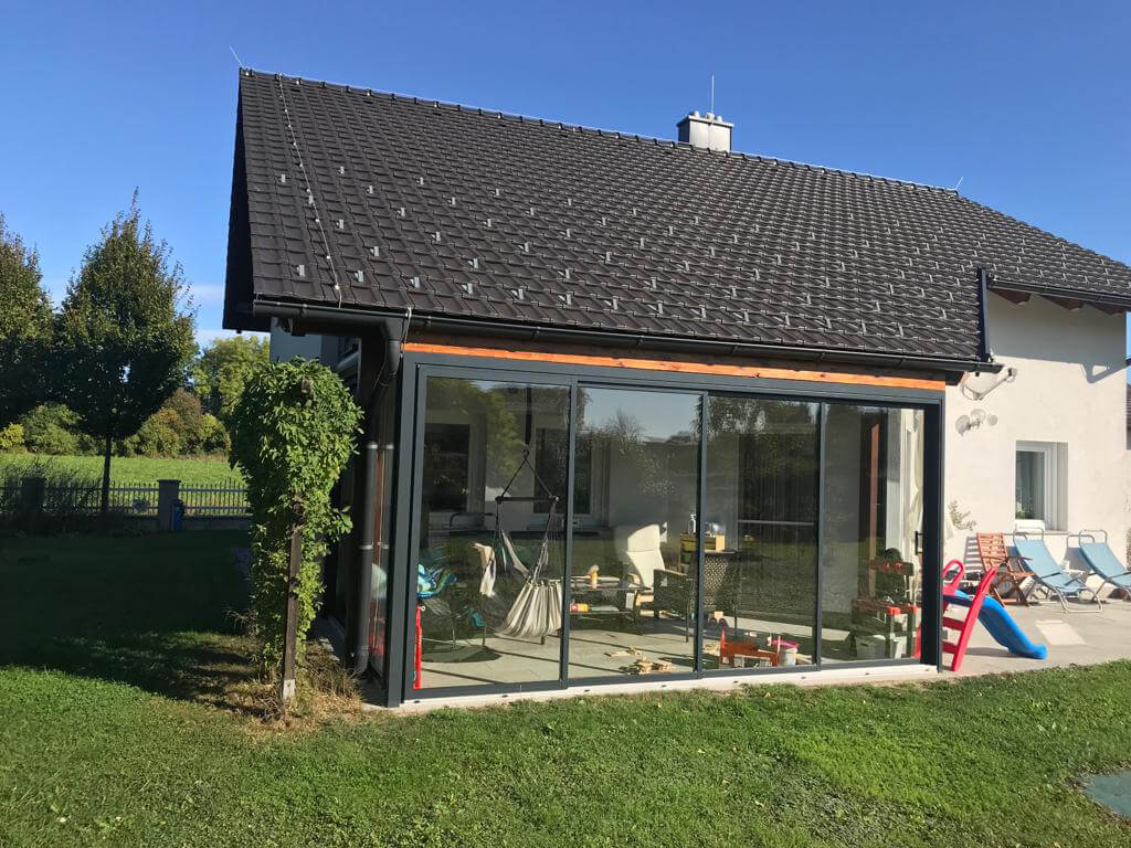 Windschutz Terrasse Glas schiebbar