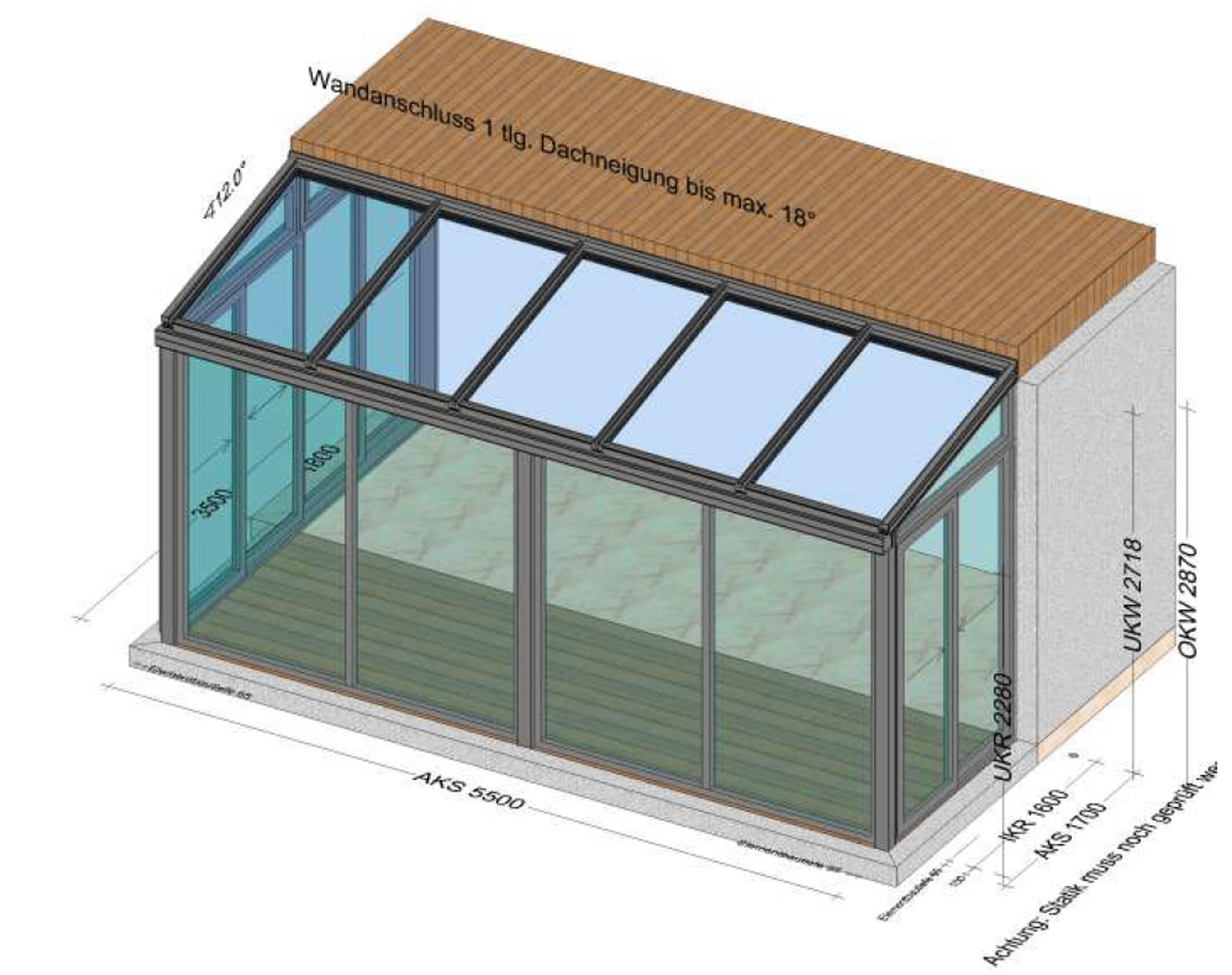 Wintergarten 5,5 x 2 Meter - Planung