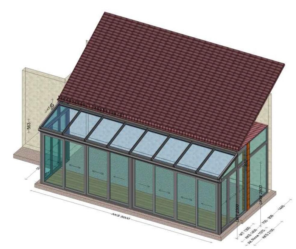 Wintergarten 8x2 Meter - Skizze für Angebot