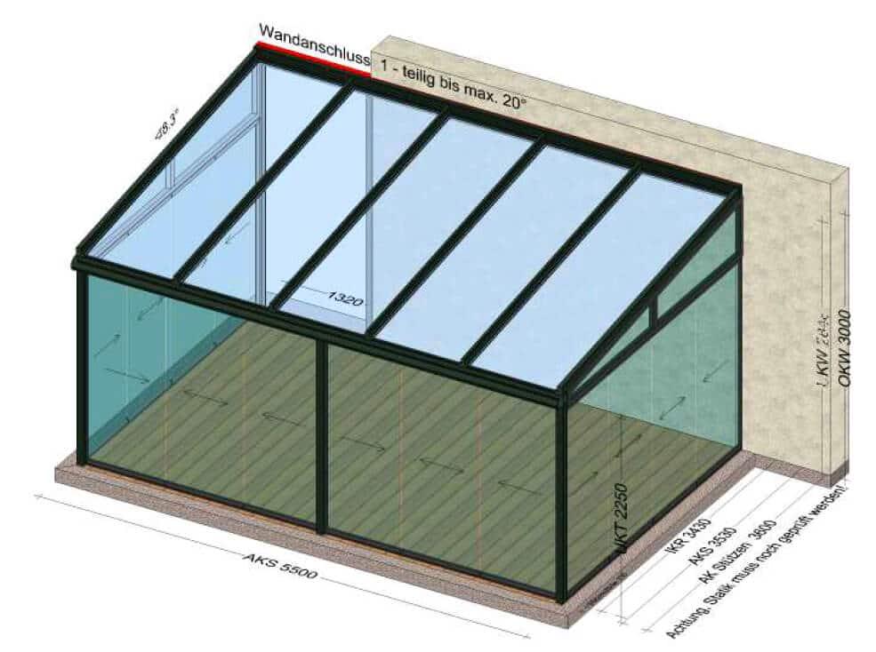 Wintergarten Alu-Glas 5,5 x 3,6 Meter