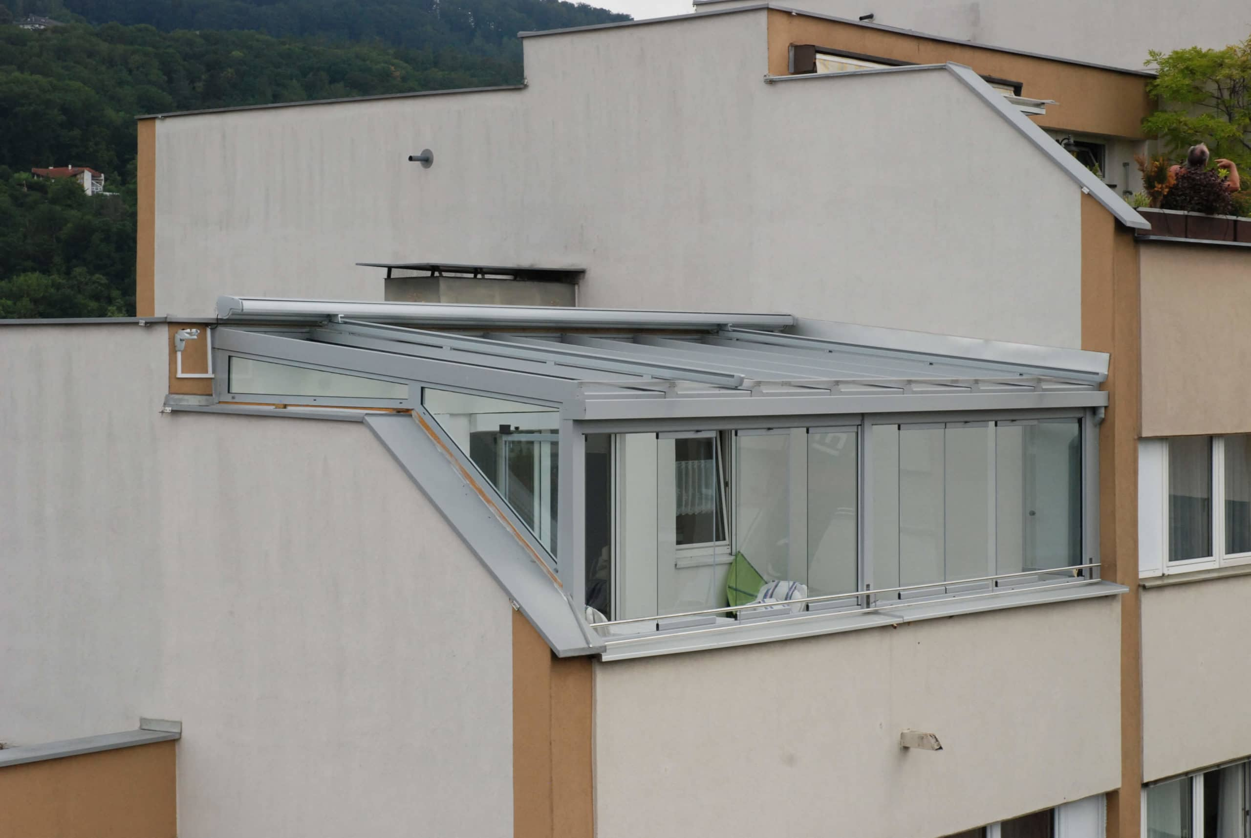 Wintergarten Aluminium mit Beschattung auf Dachterrasse