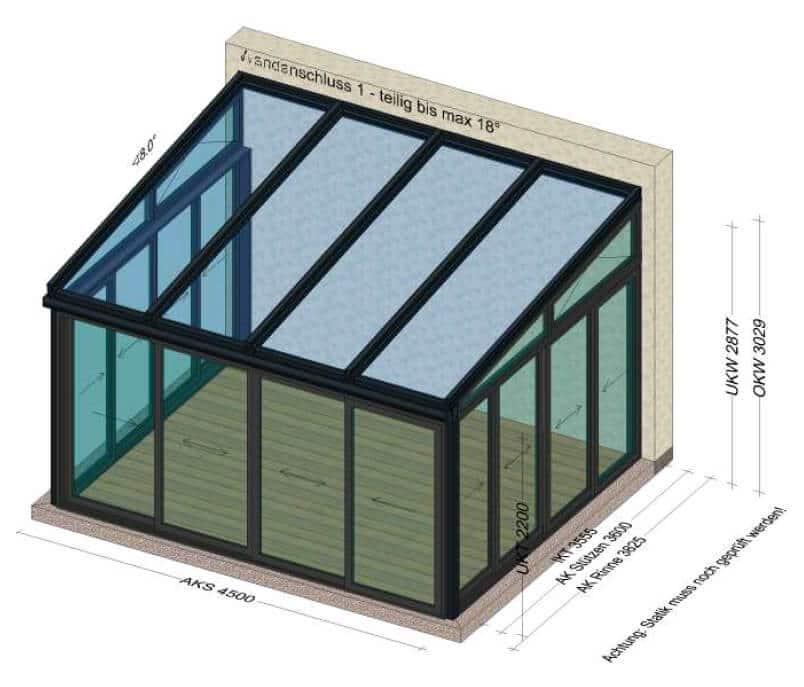 Wintergarten Anbau mit Aluminium Schiebewand