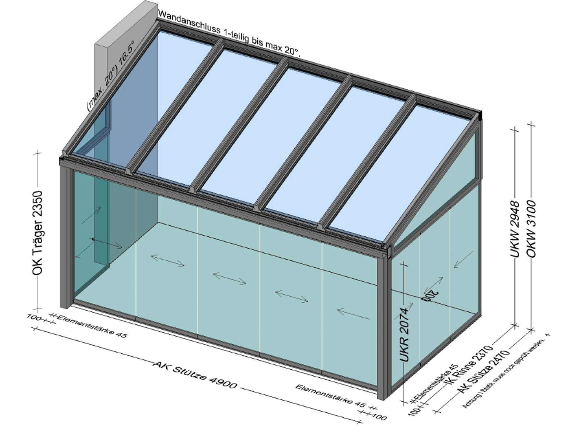 Wintergarten Anbau mit Glasschiebetüren in OÖ