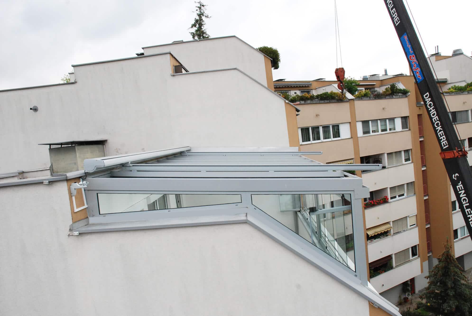 Wintergarten auf Dachterrasse montiert