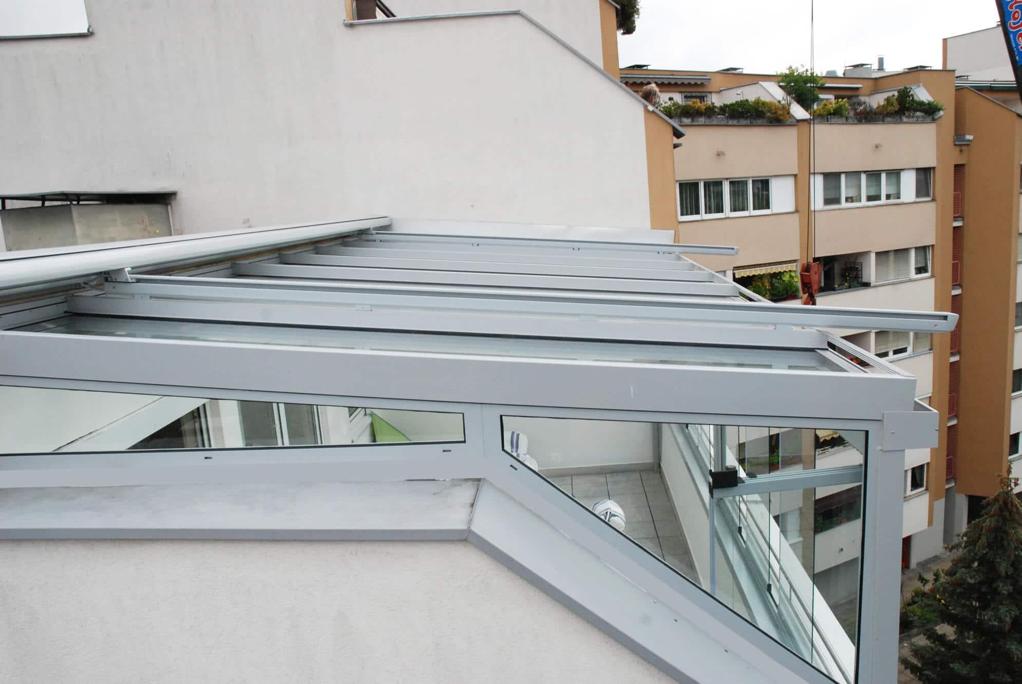 Wintergarten Dachbeschattung Farbe grau