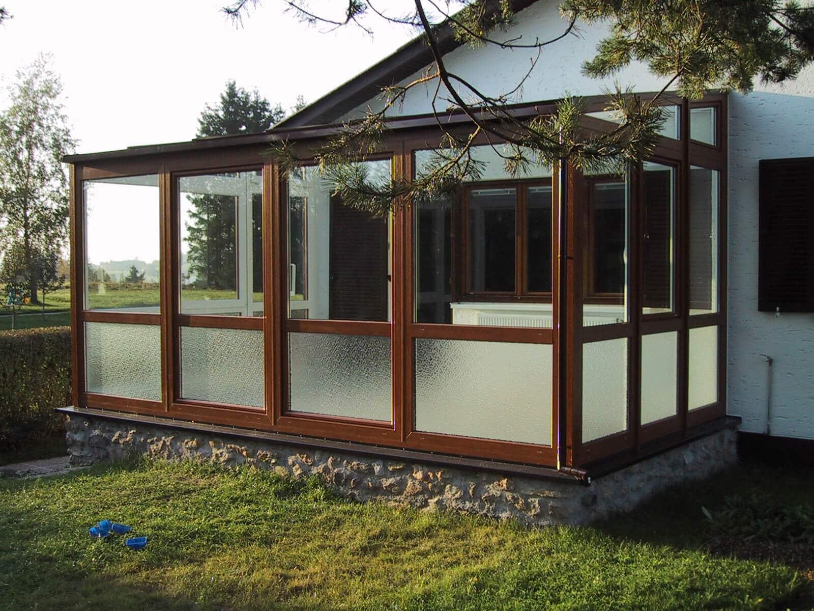 Wintergarten erneuern - Kunststoff Elemente geladen Oak - Isolierglas