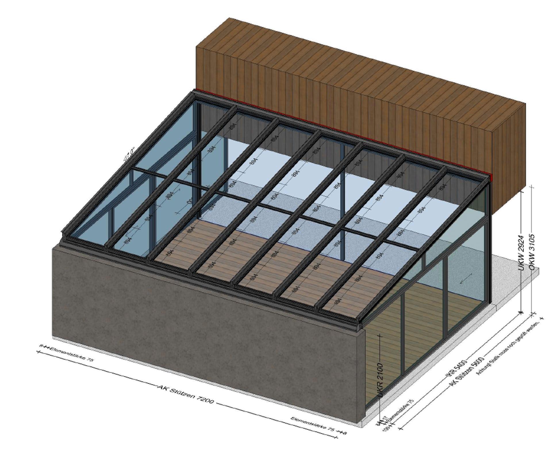 Wintergarten für Pool - Planung