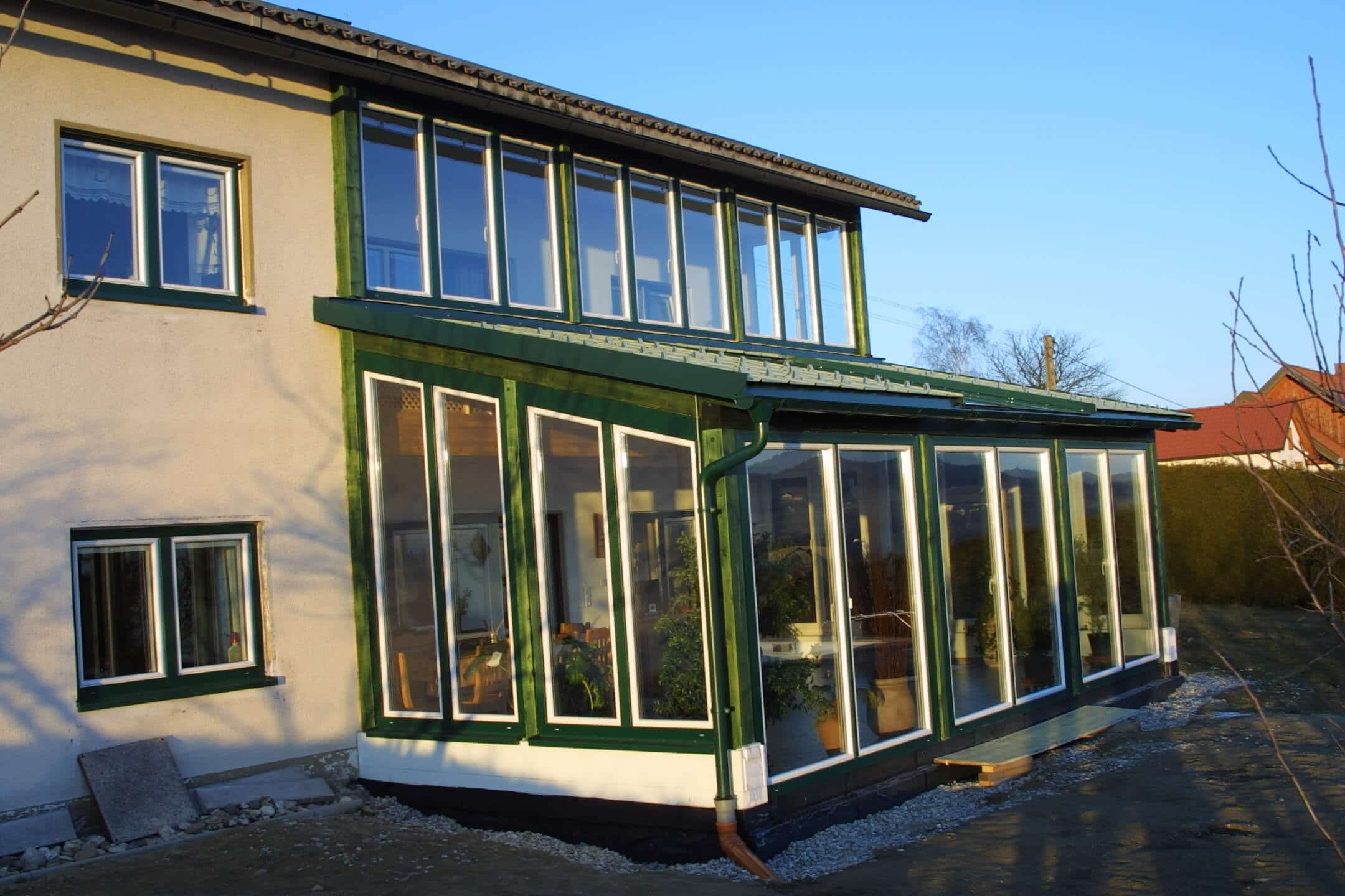 Wintergarten Glas in grün